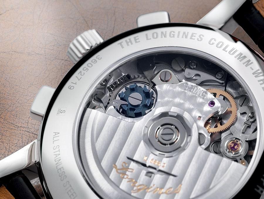 Unter anderem Longines verwendet ein gebläutes Schaltrad zur Chronographensteuerung