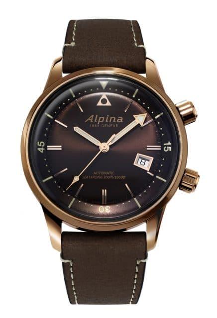Alpina: Seastrong Diver Heritage mit braunem Zifferblatt und braunem, innenliegendem Drehring