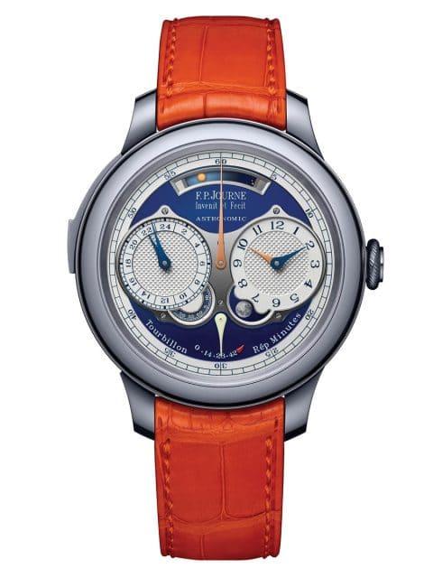 F.P. Journe: Astronomic Blue/AST Only Watch 2019 | Gehäuse: Tantal | Größe: 44 mm | Kaliber: 1619, Handaufzug | Schätzwert: 270.000 bis 539.000 Euro | Erlös: 1.800.000 Schweizer Franken