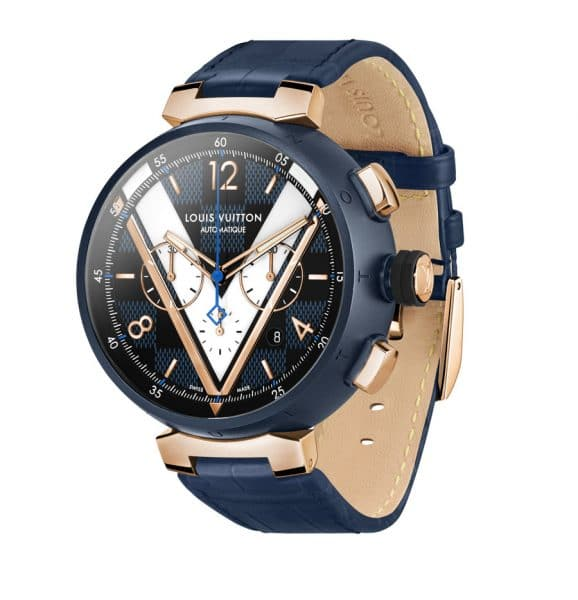Louis Vuitton: Tambour Damier Cobalt Chronograph mit Alligatorlederband