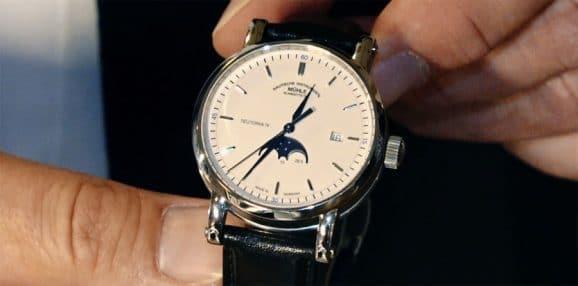 Mühle-Glashütte Teutonia IV Mondphase auf der Hamburger UhrenNacht