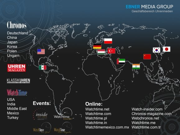 Weltkarte Ebner Media Group GB Uhrenmedien