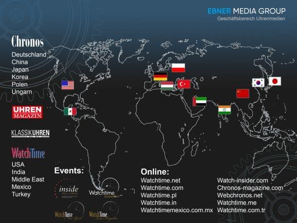 Weltkarte Ebner Media Group GB Uhrenmedien