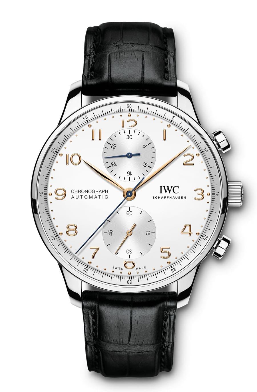 IWC: Portugieser Chronograph Referenz IW371604 in Edelstahl mit argentéfarbenem Zifferblatt