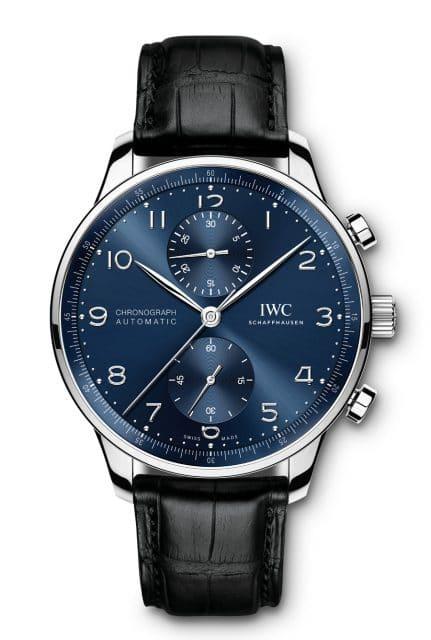 IWC: Portugieser Chronograph Referenz IW371606 in Edelstahl mit blauem Zifferblatt