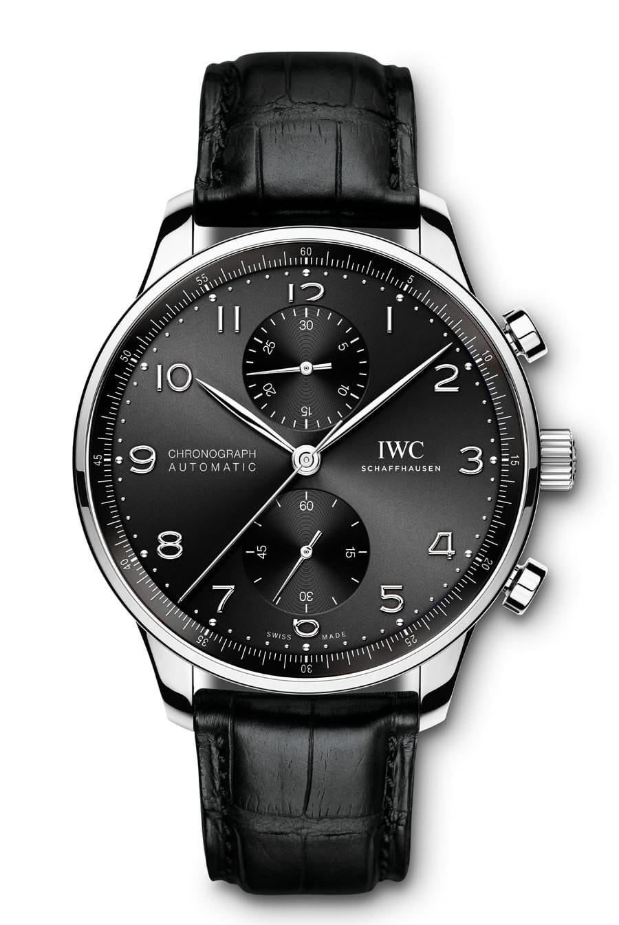 IWC: Portugieser Chronograph Referenz IW371609 in Edelstahl mit schwarzem Zifferblatt