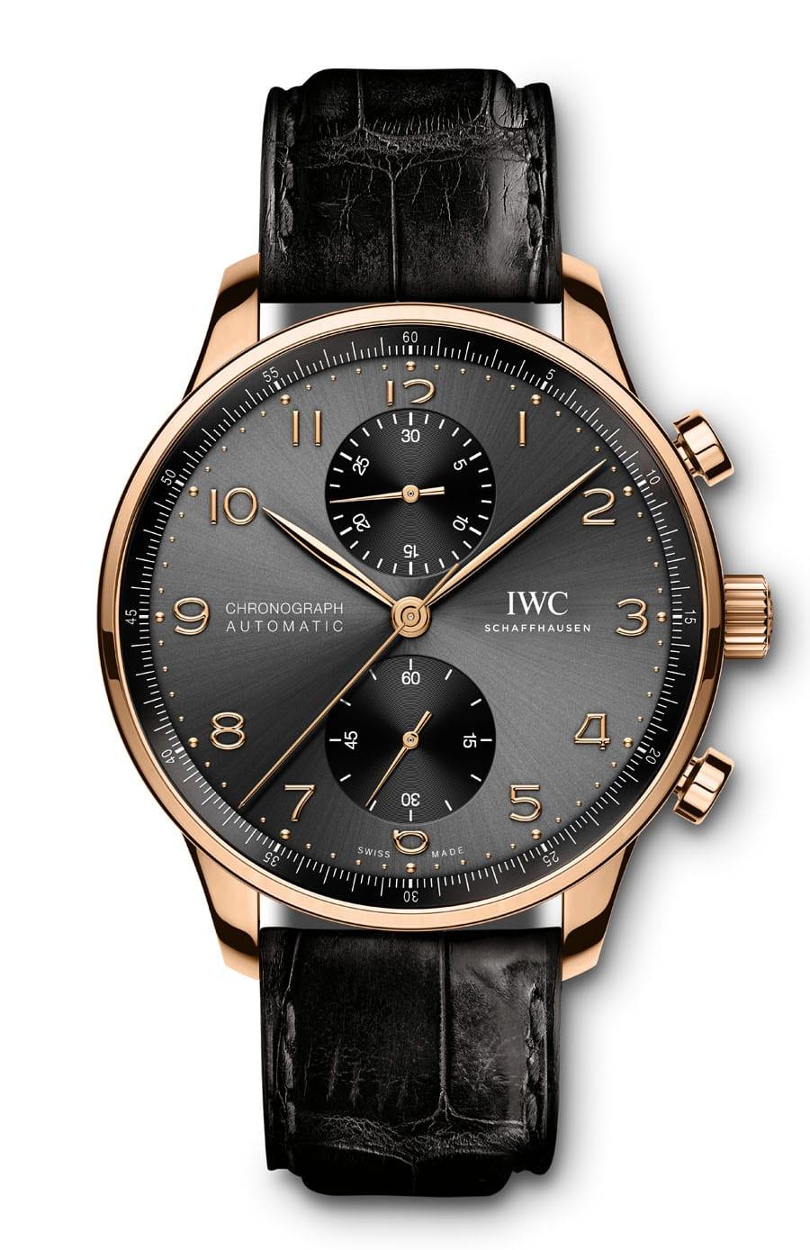 IWC: Portugieser Chronograph Referenz IW371610 in Rotgold mit schwarzem Zifferblatt