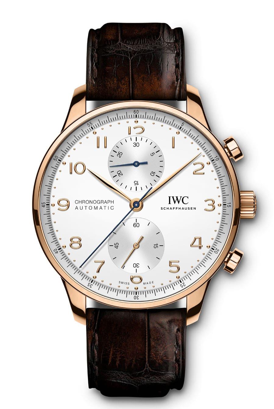 IWC: Portugieser Chronograph Referenz IW371611 in Rotgold mit argentéfarbenem Zifferblatt