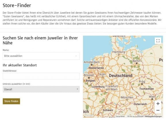 Store-Finder Suchfeld