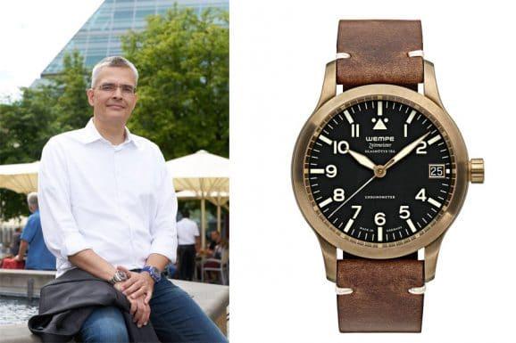 Rüdiger Bucher, Chefredakteur Chronos, gefällt die Wempe Zeitmeister XL Bronze