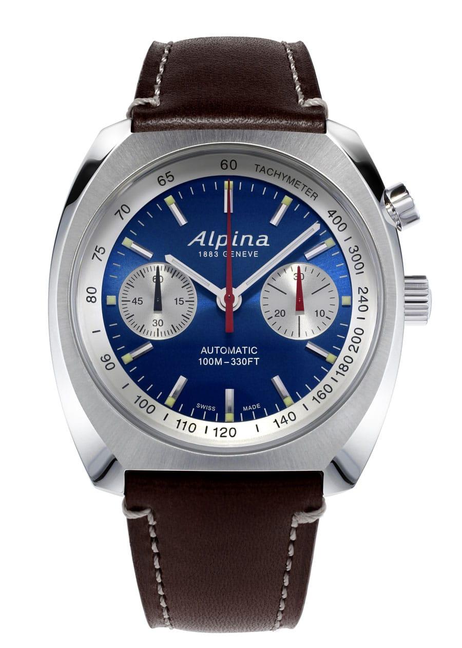 Alpina: Startimer Pilot Heritage Chronograph mit blauem Zifferblatt und silberfarbener Tachymeterskala