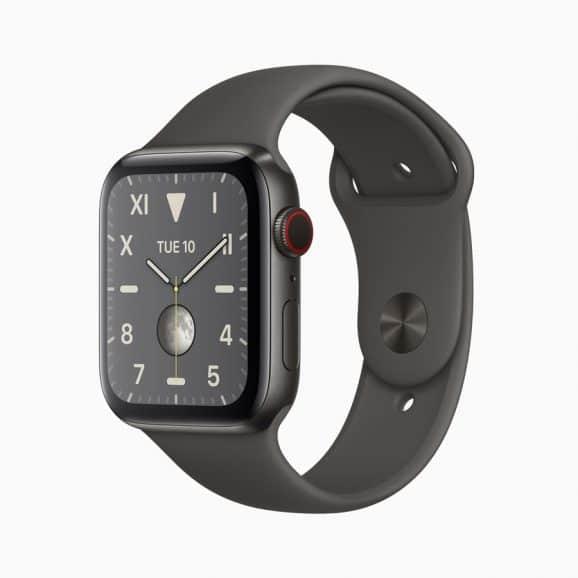 Apple Watch Series 5 mit einem Gehäuse aus schwarz DLC-beschichtetem Titangehäuse