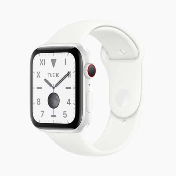Apple Watch Series 5 mit einem Gehäuse aus weißer Keramik