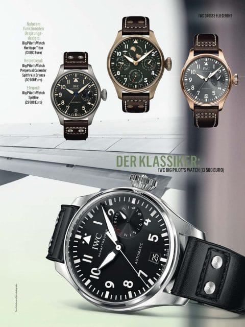 Großes Thema im Chronos Special Design 2019/20: die vielfältigen Gestaltungsvarianten der Uhrenikone IWC Große Fliegeruhr