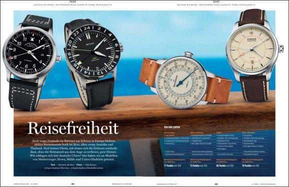 Vergleichstest Vier deutsche GMT-Uhren zum Reisen: Meistersinger, Mühle-Glashütte, Stowa, Union Glashütte