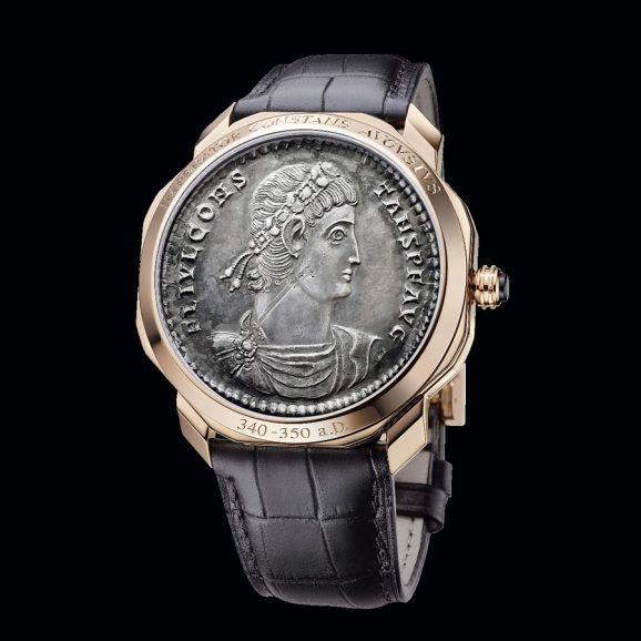 Bulgari: Den Klappdeckel der Octo Roma Monete ziert eine antike römische Kaisermünze