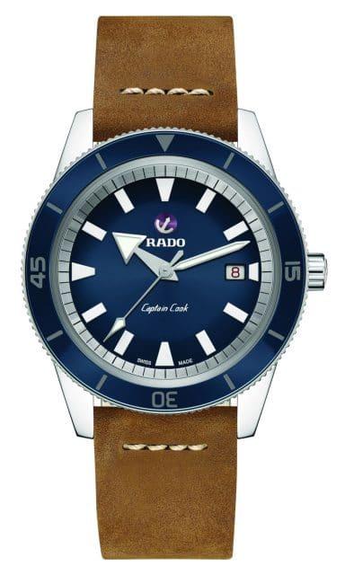 Rado: Captain Cook Automatik mit blauem Zifferblatt und braunem Lederband