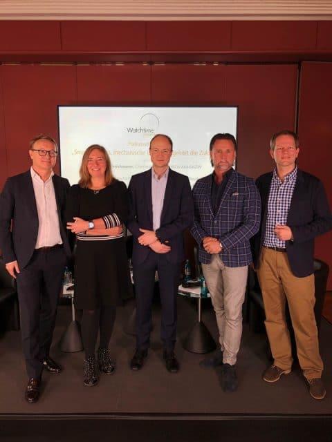 Simone Richter von Sinn, Simon Schön von Garmin, Markus Rettig von Frédérique Constant Deutschland, Jens Koch, Experte Smartwatches Chronos