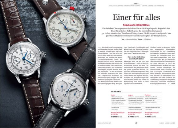 Vergleichstest Ein-Drücker-Chronographen Bicompax: Hanhart, Longines und Montblanc
