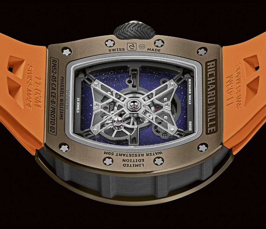 Rückseite der Richard Mille RM-52-05 Tourbillon Pharrell Williams