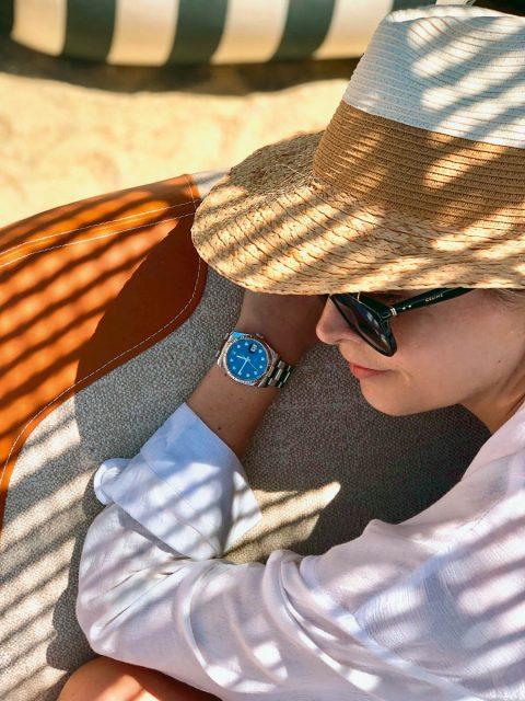 Nina Meise: Rolex Perpetual Datejust 36 mit blauem Diamantzifferblatt