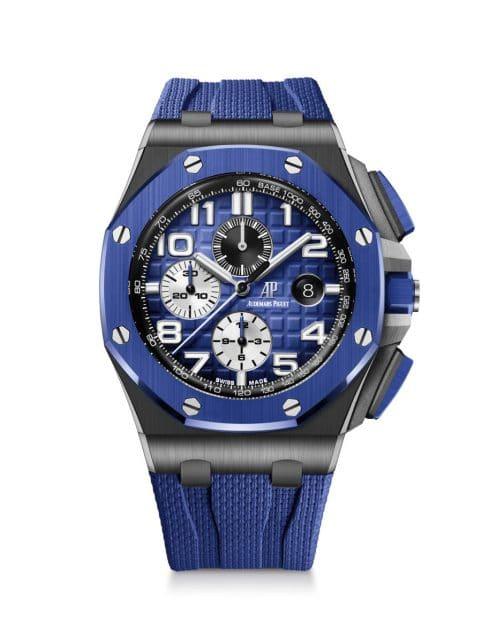 Audemars Piguet: Royal Oak Offshore Chronograph in schwarzer Keramik mit blauem Zifferblatt