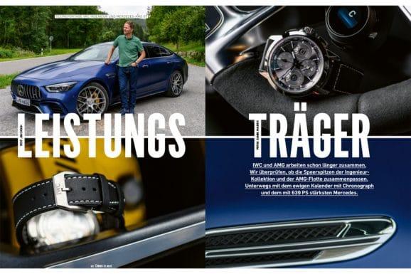 Fahrtest in Chronos 01.2020: Jens Koch geht mit der IWC Ingenieur Perpetual Calendar Digital Date-Month auf Ausfahrt mit dem Mercedes-AMG GT 63 S