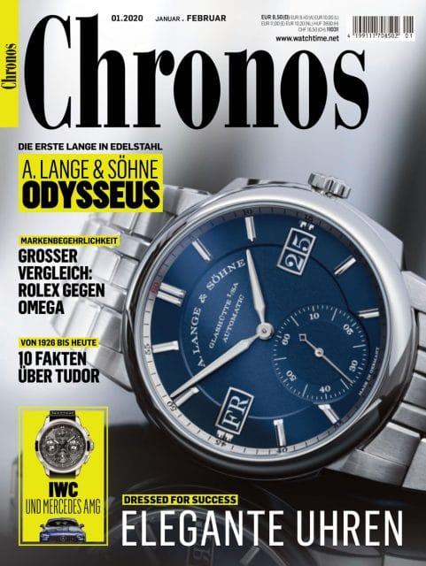 Titelthema in Chronos 01.2020: die Neuvorstellung der Edelstahluhr Odysseus von A. Lange & Söhne