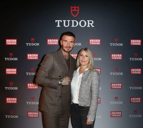 Watchtime.net Online-Redakteurin Nadja Ehrlich traf Tudor-Markenbotschafter David Beckham in Berlin