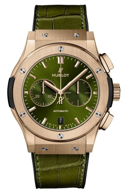 Hublot: Classic Fusion Chronograph King Gold Green