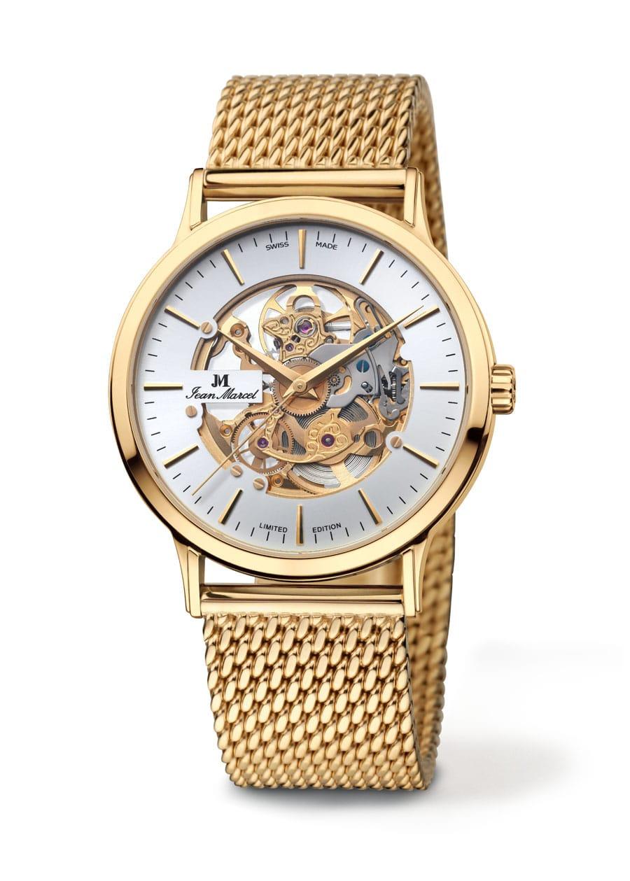 Jean-Marcel-Tantum-Handaufzug-Skelett-vergoldetes-Uhrwerk-Milanaiseband