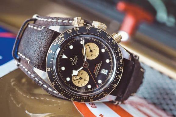 Tudor Black Bay Chrono S&G, Edelstahl und Gelbgold, 41 Millimeter, Tudor-Kaliber MT5813, Basis Breitling 01, Automatik, Chronometer, 5.240 Euro. Foto: Marcus Krüger