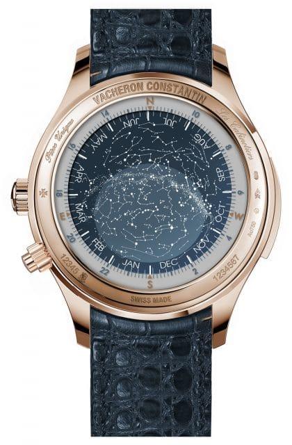 Die Rückseite zeigt eine Sternenkarte sowie Sternzeit, Monat und Himmelsrichtungen
