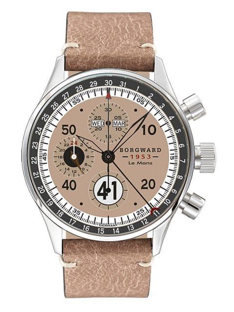 Borgward: Forty One - der Name der Uhrenlinie steht für die Startnummer des Borgward Hansa 1500 Renncoupé-Boliden, der 1953 beim 24-Stunden-Rennen von Le Mans teilnahm