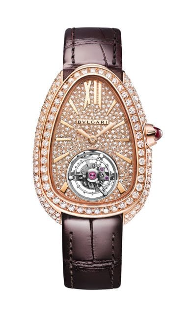 Bulgari: Serpenti Seduttori Tourbillon in Roségold besetzt mit 299 Diamanten