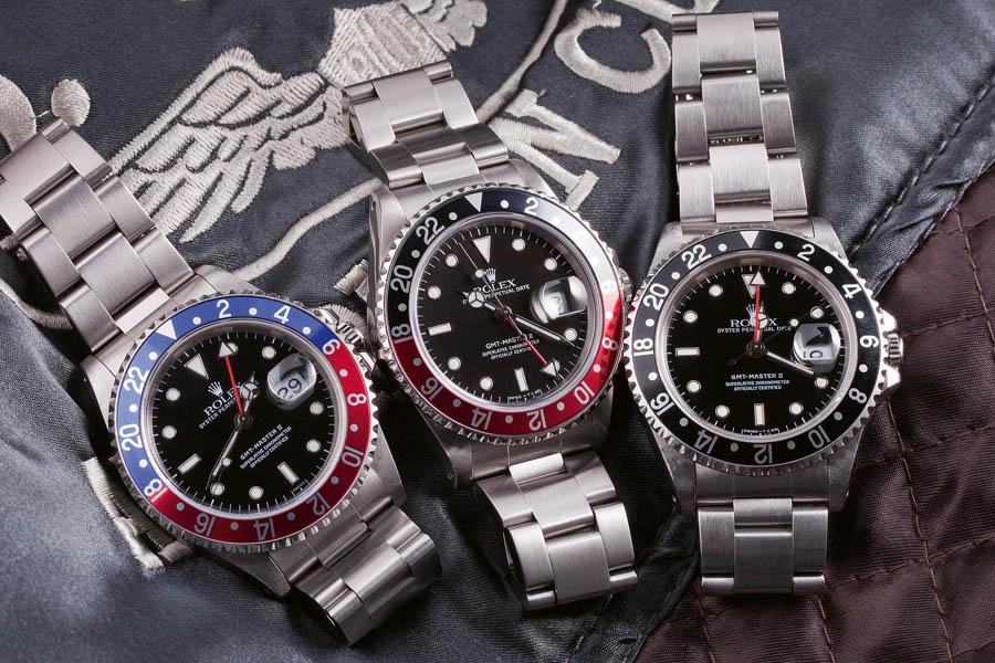 Rolex GMT-Master Referenz 16710 (1989–2007), gab es mit drei unterschiedlichen Lünetten