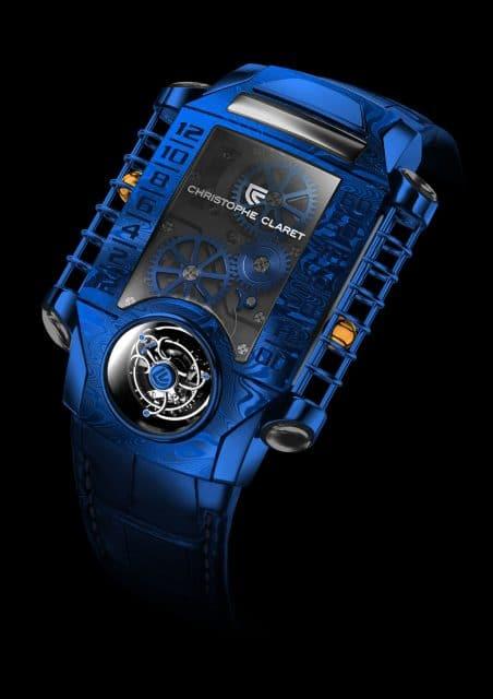 Christophe Claret: X-Trem-1 in blau beschichtetem Damaszener Stahl