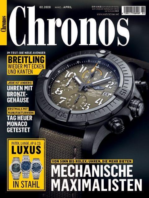 Chronos 02.2020 mit Uhren, die mehr bieten, Luxus in Stahl, Test der TAG Heuer Monaco mit Manufakturwerk und mehr