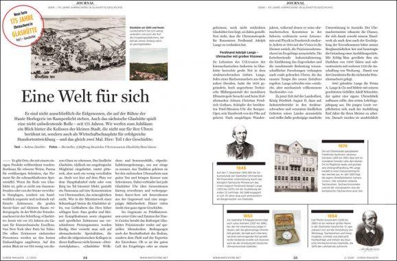 UHREN-MAGAZIN 2/2020: neue Serie 175 Jahre Uhrmacherei in Glashütte