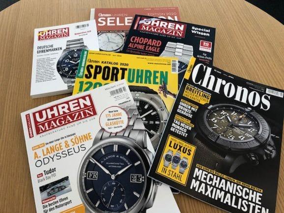 Lesestoff bequem nach Hause bestellen: Uhren-Magazin, Chronos, Sportuhren-Katalog, Sonderheft Wissen, Edition Selection und Kompendium Deutsche Uhrenmarken