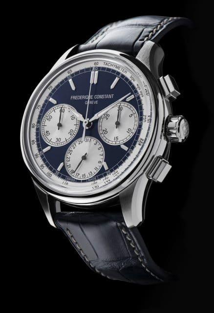 Frederique Constant: Flyback Chronograph Manufacture in Edelstahl mit blauem Zifferblatt
