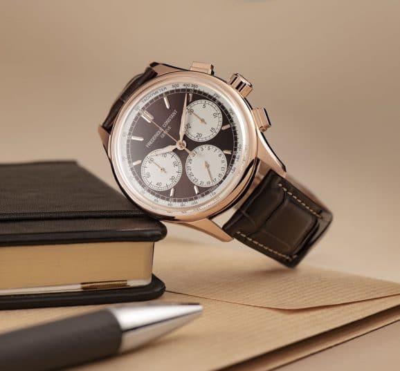 Frederique Constant: Flyback Chronograph Manufacture mit roségoldplattiertem Gehäuse und braunem Zifferblatt