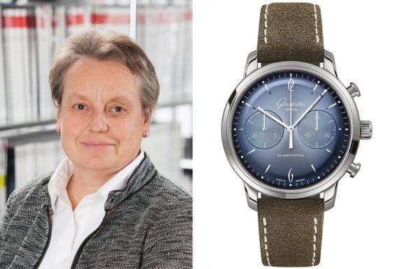 Martina Richter, stellvertretende Chefredakteurin UHREN-MAGAZIN, empfiehlt die Glashütte Original Sixties Jahresedition 2020, Chronograph