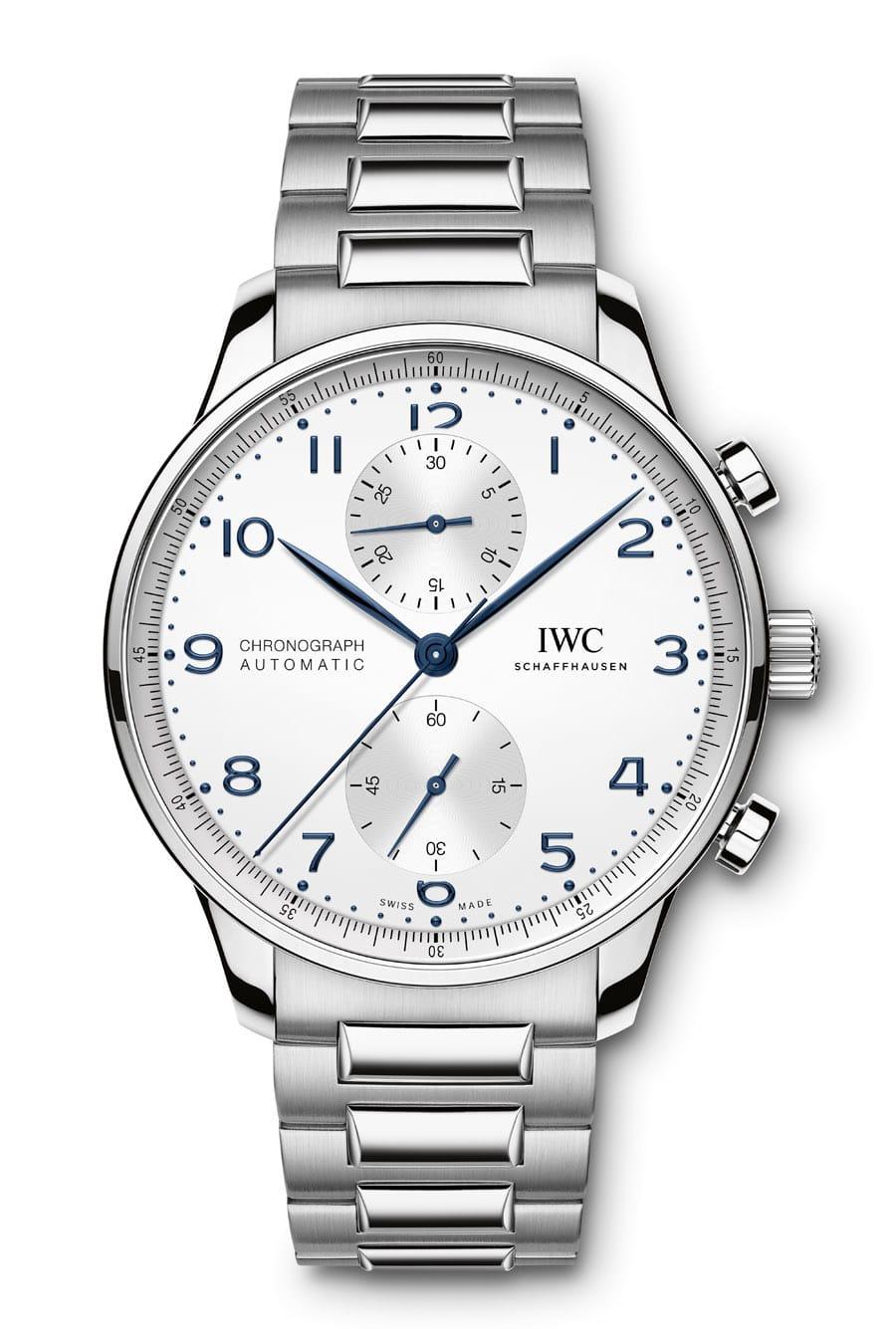 Die IWC Portugieser Chronograph Referenz IW371617 in Edelstahl und Manufakturkaliber 69355 gibt es jetzt neu mit Edelstahlband