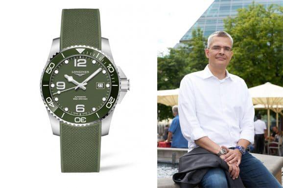 Rüdiger Bucher, Chefredakteur Chronos, empfiehlt die Longines Hydroconquest in Grün