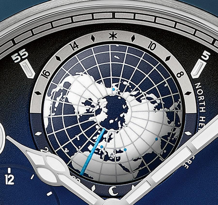 Montblanc: Die acht blauen Punkte auf den Weltkugeln stehen für sie Seven Summits; Europa kommt zweimal vor