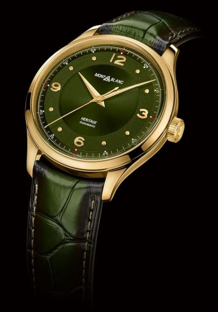 Montblanc: Heritage Automatic in Gelbgold mit einem Zifferblatt in British Racing Green