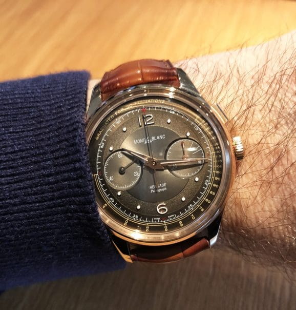 Wristshot des Montblanc Heritage Manufacture Pulsograph Limited Edition 100 in Roségold