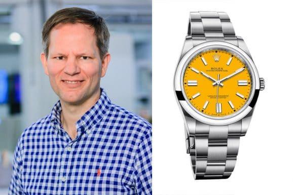 Jens Koch, Redakteur Chronos, wählt die neue Rolex Oyster Perpeptual 41 in Gelb
