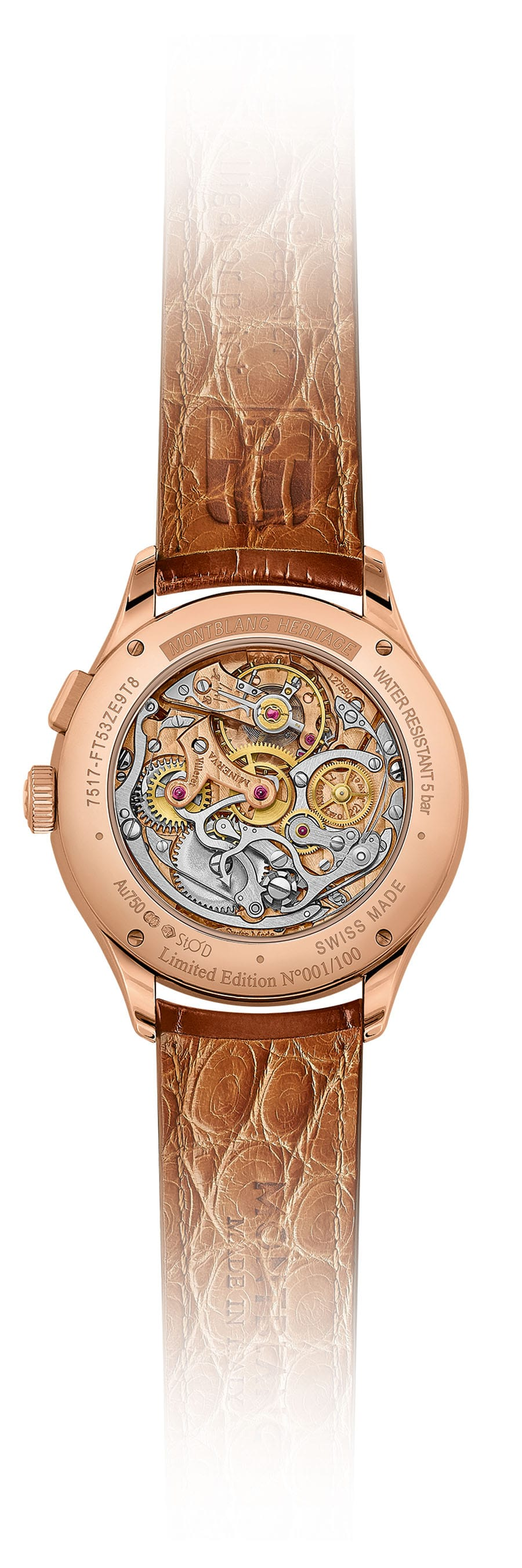 Rückseite des Montblanc Heritage Manufacture Pulsograph Limited Edition 100 in Roségold